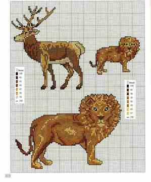 схемы для вышивки крестом животные лев олень