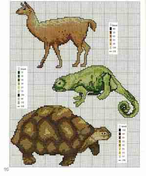схемы для вышивания крестом черепаха лама хамелеон